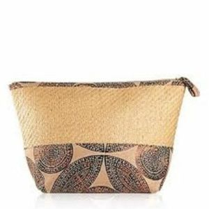 Planet Spa Woven Straw Make Up Travel Bag